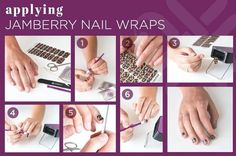 """This is the Jamberry Application process in pictures.   Go to this website:    aeg.jamberrynails.net   to see a video and observe for yourself how EASY and quick this amazing at home manicure can be!    (Click on """"Applying your Nails"""" and scroll down past the written instructions to find the videos on application and removal!  VERY Helpful!"""