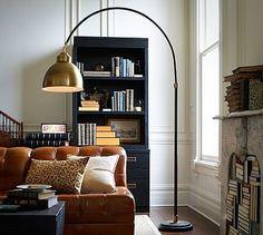 Winslow Arc Sectional Floor Lamp, Brass Hood | Havenly