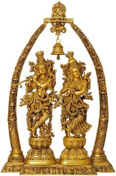 Radha Krishna with Arch Showing Krishna Leela