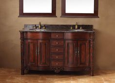 """Tuscany 60"""" Double Sink Bathroom Vanity Cabinet - Cherry Finish - The Tuscany collection is versatile for any style of home. With upscale wood working and impressive handcrafted detail, this collection provides a timeless class and sophistication to any bathroom space. Enjoy a spa-like retreat with the calming cherry finish and scroll working. A matching mirror is also available with this collection for a complete look."""