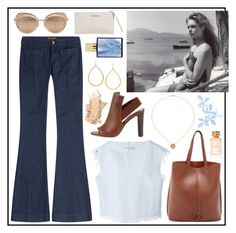 Denim and leather  #seafarer #theseafarer #polyvore #look #outfit #style #fashion #denimjeans #denim #jeans #bellbottom #flares #flaredjeans