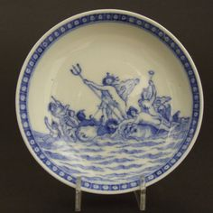 Soft-Paste Porcelain Blue and White Saucer with `Neptune`, Qianlong Period c.1750-1770.