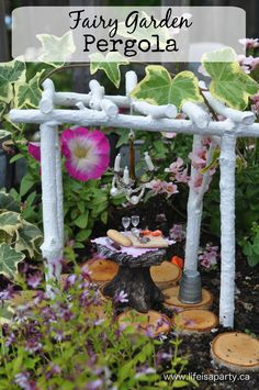Fairy Garden Miniature Pergola: easy how to instructions to make an adorable miniature twig pergola for a fairy garden using only twigs, glue, and paint.