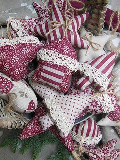 Christmas decorations by shabby.romantic / Vianočné ozdôbky 10 ks - kolekcia bordó 2014