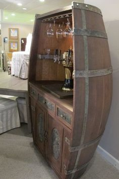 This would make a beautiful hutch or curio cabinet. Wine Barrel Chairs, Wine Barrel Furniture, Wine Barrel Bar, Barris, Winery Tasting Room, Bourbon Barrel, Whiskey Barrels, Barrel Projects, Wine Display