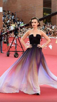 """Lily Collins attends the premiere of """"Love, Rosie"""" during the 2014 Rome Film Festival in Rome, Italy. Lily Collins is wearing an Elie Saab couture strapless chiffon gown accessorised with earrings by Norman Silverman and ring by EF Collection rings, Vita Vestidos Elie Saab, Elie Saab Dresses, Cheap Prom Dresses, Homecoming Dresses, Bridesmaid Dresses, Red Carpet Dresses, Black Dress Red Carpet, Black Maxi, Dress Black"""