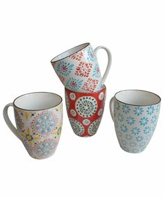 These fabulous Bohemian-inspired mugs from Chehoma make a colorful and festive addition to one's dinnerware collection. Ample to hold, they will become a new favorite in your morning routine! Sold in
