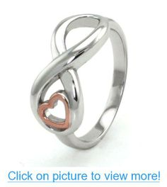 Sterling Silver Infinity Ring w/ Rose Gold Heart - Available Size: 4, 4.5, 5, 5.5, 6, 6.5, 7, 7.5, 8, 8.5, 9, 9.5, 10