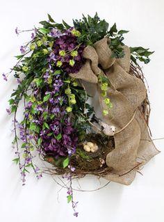 Purple & Lime Green, Luxury Front Door Wreath