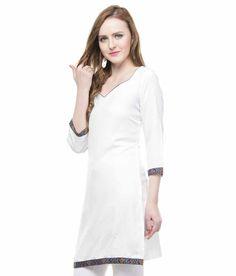 Lingra White Rayon 3/4th Sleeves Plain Kurti