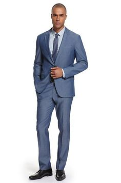 BOSS Black Chambray Slim Fit Suit