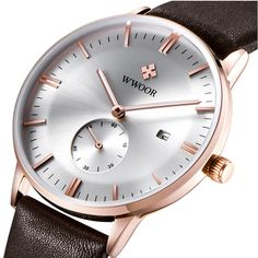 17.99$  Watch here - 2016 Luxury Brand Wwoor Leather Strap Mens Business Watch Auto Date Hours Casual Clock Waterproof Relogio Masculino   #aliexpressideas