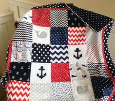 Nautical Quilt in Red White and Blue CRIB SIZE by Lovesewnseams