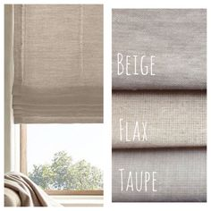 Natural Beige Linen Flat Roman Shades, Faux Roman Valances, & Curtains
