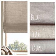 Natural Beige Linen Flat Roman Shades, Faux Roman Valances, & Curtains
