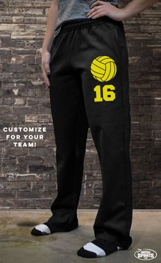 Our volleyball sweatpants come in several colors and can be personalize with your player number. One of the most comfortable volleyball apparel products you'll ever where. Choose a design, choose a color and choose comfort with these sweatpants. Volleyball Gear, Volleyball Outfits, Volleyball Players, Cute Volleyball Shirts, Volleyball Shirt Designs, Softball Room, Volleyball Uniforms, Athletic Outfits, Sport Outfits
