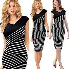 New Fashion Sexy Women Striped Bandage Stretch Bodycon Sheath Midi Pencil Dress *** For more information, visit image link.(This is an Amazon affiliate link and I receive a commission for the sales)