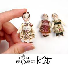 Tiny Doll Kit : Antique Style Dolls Trio of Dollhouse Miniature Size Izannah Walker Cloth Doll Inspired. $10.00, via Etsy.