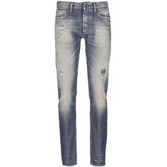 Denham 'Razor' slim fit Candiani selvedge jeans ($465) ❤ liked on Polyvore featuring men's fashion, men's clothing, men's jeans, men, pants, blue, mens slim fit jeans, mens destroyed jeans, mens patched jeans and mens torn jeans