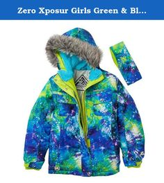 ZEROXPOSUR girls coat BLUE SKY ~ sz 5//6 reflective w// hood /& ear cover headband