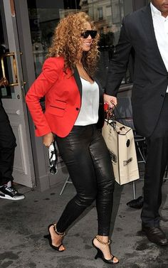 Beyonce in DSquared2 blazer, J Brand leather pants, Tom Ford heels and an Alexander McQueen clutch