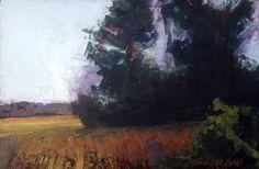 """Weston Fields, Noon"", oil, 4 x 6″, © Mary Bentz Gilkerson"