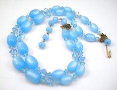 Vintage Blue Necklace Pastel Blue Crystals by AtticDustAntiques,