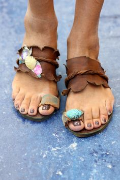 "Sandals decorated with shells ""Eris""  (handmade to order)"