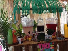 Tiki bar made with reused pallets and stocked with non-alcoholic refreshments!