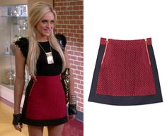 Dalia's red and black chevron quilted colorblock mini skirt with dual front zips…