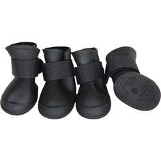 Medium Black Elastic Protective Multi-Usage All-Terrain Rubberized Dog Shoes
