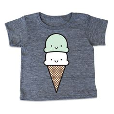 Your child's summer waredrobe won't be complete without this super soft, super cute kawaii mint ice cream cone T-shirt. 4 color design hand screen printed on American Apparel athletic grey tri blend t shirt.   This is a pre-order. We don't expect to do more than one printing of these. Please allo...