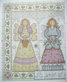 A Year of Angel Blessings Cross Stitch Angels, Cross Stitch Charts, Cross Stitch Patterns, Beaded Embroidery, Cross Stitch Embroidery, Embroidery Designs, Christmas Cross, Diy Christmas Ornaments, Stitch Doll