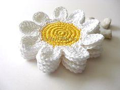 Crochet Coasters White Yellow Flowers  Beverage by MariMartin, $24.00