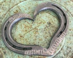 Personalized Anniversary gift. Horseshoe Heart. Traditional Anniversary Gift. 11th Anniversary Gift. 6th Anniversary gift. gift for him