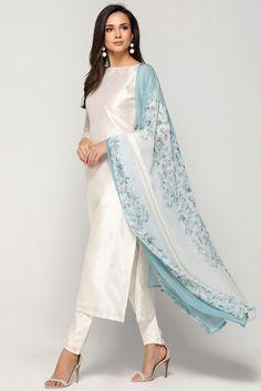 - White - Suits - Ladies Wear - Diya Online by fern Kurta Designs Women, Kurti Neck Designs, Kurti Designs Party Wear, Salwar Designs, Indian Attire, Indian Outfits, Indian Wear, Ladies Suits Indian, Pakistani Dress Design