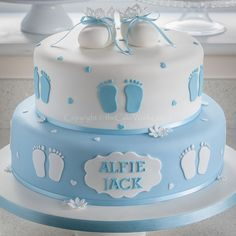 Christening cakes / BBoy's Christening cake in baby blue and white - footprints and shoes
