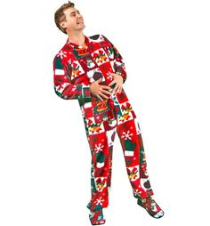 Amazon.com: PajamaCity Ugly Christmas Sweater Print Polar Fleece Drop Seat Feetie Pajamas for Teens and Adults: Clothing