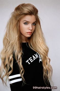 blonde half up half down hairstyle with bangs - 99 Hairstyles Ideas