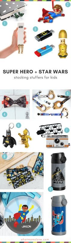 Stocking Stuffer Ideas for kids who love Super Heroes and Star Wars | Unique stocking Stuffers for girls and boys #stockingstuffer #superhero #starwars #kidsgift