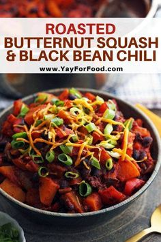 A hearty and healthy vegetarian chili recipe where roasting makes all the difference. Featuring sweet butternut squash, protein-rich black beans, and a mild spicy kick of jalapeno. Black Bean Chili, No Bean Chili, Black Beans, Vegetarian Chili, Vegetarian Recipes, Healthy Recipes, Vegan Soups, Healthy Meals, Chili Recipes