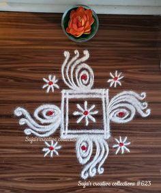 Rangoli Side Designs, Simple Rangoli Border Designs, Free Hand Rangoli Design, Small Rangoli Design, Rangoli Ideas, Rangoli Designs Diwali, Rangoli Designs With Dots, Easy Rangoli, Beautiful Rangoli Designs