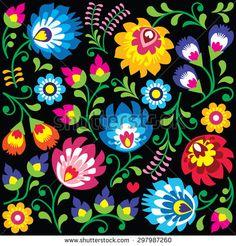 Floral Polish folk art pattern on black - Wzory Lowickie, Wycinanki by RedKoala #łowicz #wzory #Poland