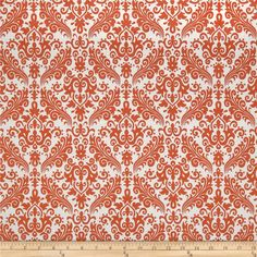 Riley Blake Medium Damask White/Orange from @fabricdotcom  Designed by RBD Designers for Riley Blake, this cotton print is perfect for quilting, apparel and home decor accents.  Colors include white and orange.