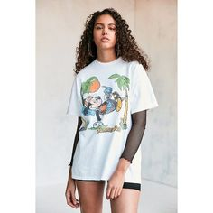Junk Food Mickey Summer Daze Tee ($44) ❤ liked on Polyvore featuring tops, t-shirts, short sleeve graphic tees, short sleeve tops, crew neck t shirt, vintage style t shirts and crew t shirts
