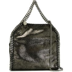 Stella McCartney mini 'Falabella' tote ($960) ❤ liked on Polyvore featuring bags, handbags, tote bags, grey, purses, handbags totes, faux leather purses, gray leather tote, faux leather handbags and leather purses
