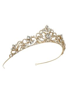 FREE SHIPPING on orders over $75 (US Ground Only, 5-9 business days) Standard Shipping: 5-9 business days ELIZABETH RHINESTONE GOLD CROWN Bridal headpiece has a beautiful scrolling pattern and highlighted with a brilliant round cut rhinestone nearly half an inch wide and bordered by
