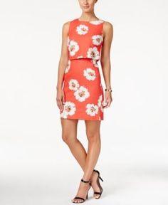 Ivanka Trump Sleeveless Floral-Print Popover Dress - Coral/Ivory 14