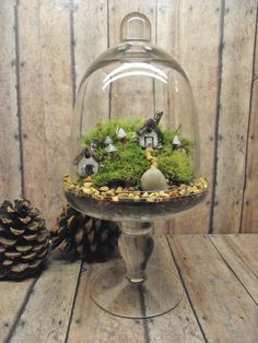 Miniature Landscape, Live Moss Terrarium with tiny raku fired ceramic houses.. $45.00, via Etsy.