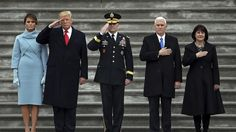 Melania Trump's Blue Ralph Lauren Dress Worn January Jackie Kennedy Look On Inauguration Day [Photos] Saluting The Flag, Karen Pence, Middle School History, Presidential Inauguration, The Week Magazine, Church News, Oval Office, First Lady Melania Trump, Mike Pence